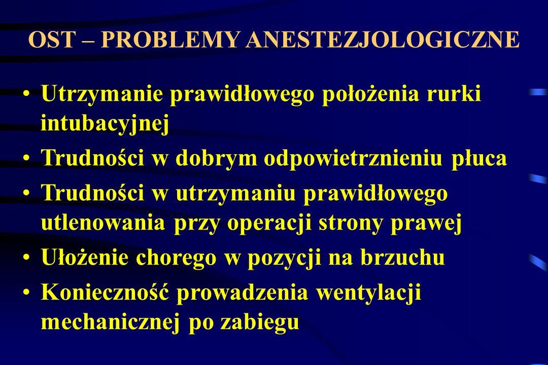 OST – PROBLEMY ANESTEZJOLOGICZNE Utrzymanie prawidłowego położenia rurki intubacyjnej Trudności w dobrym odpowietrznieniu płuca Trudności w utrzymaniu