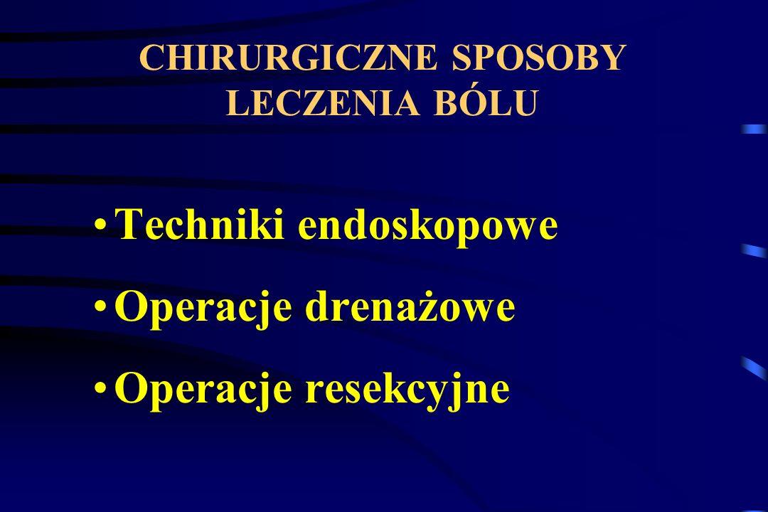CHIRURGICZNE SPOSOBY LECZENIA BÓLU Techniki endoskopowe Operacje drenażowe Operacje resekcyjne