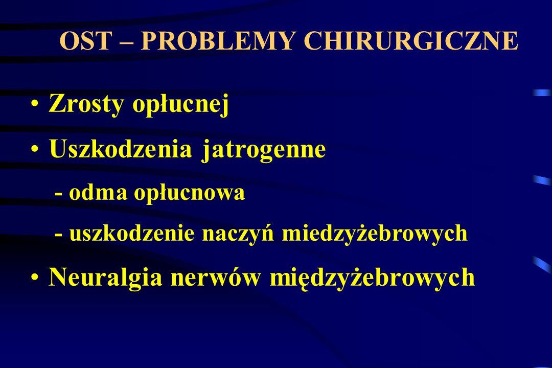 OST – PROBLEMY CHIRURGICZNE Zrosty opłucnej Uszkodzenia jatrogenne - odma opłucnowa - uszkodzenie naczyń miedzyżebrowych Neuralgia nerwów międzyżebrow
