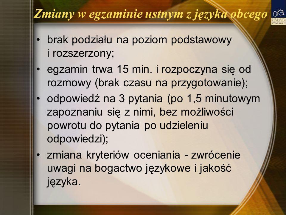 Zmiany w egzaminie ustnym z języka obcego brak podziału na poziom podstawowy i rozszerzony; egzamin trwa 15 min. i rozpoczyna się od rozmowy (brak cza