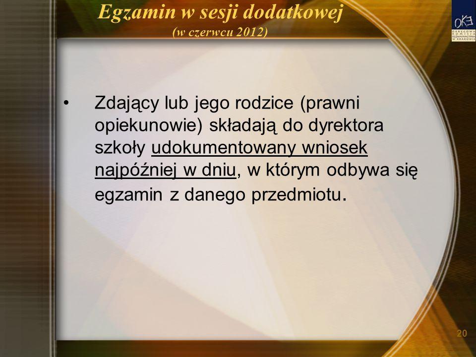 20 Egzamin w sesji dodatkowej (w czerwcu 2012) Zdający lub jego rodzice (prawni opiekunowie) składają do dyrektora szkoły udokumentowany wniosek najpóźniej w dniu, w którym odbywa się egzamin z danego przedmiotu.