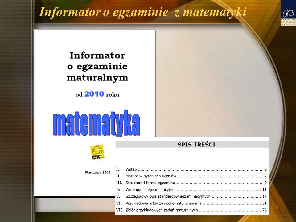 Informator o egzaminie z matematyki 35