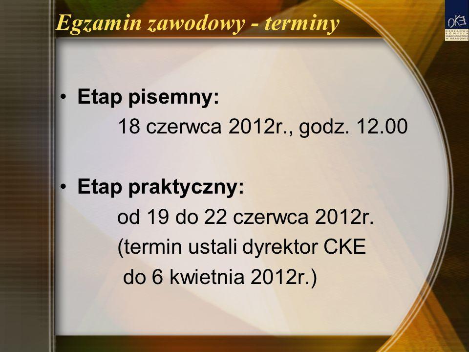 Egzamin zawodowy - terminy Etap pisemny: 18 czerwca 2012r., godz. 12.00 Etap praktyczny: od 19 do 22 czerwca 2012r. (termin ustali dyrektor CKE do 6 k