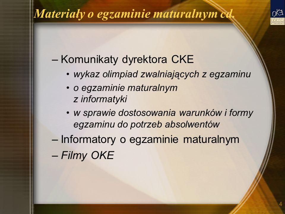 Materiały o egzaminie maturalnym cd. –Komunikaty dyrektora CKE wykaz olimpiad zwalniających z egzaminu o egzaminie maturalnym z informatyki w sprawie