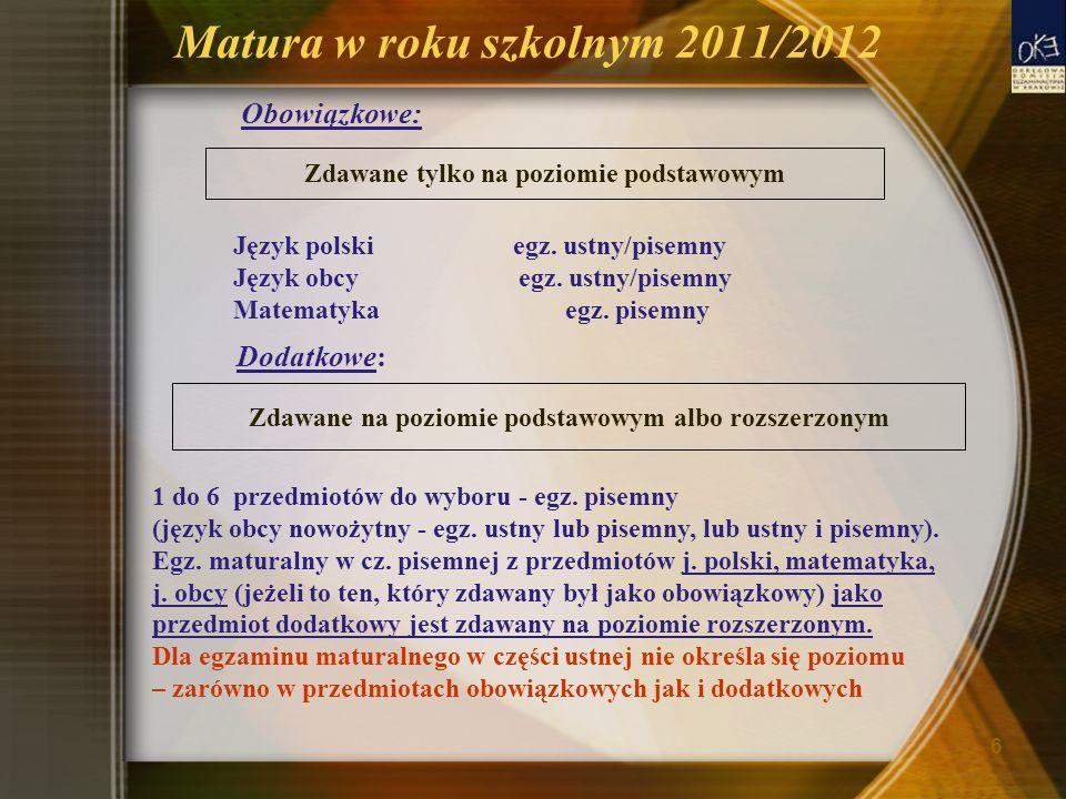 Matura w roku szkolnym 2011/2012 Obowiązkowe: Język polski egz. ustny/pisemny Język obcy egz. ustny/pisemny Matematyka egz. pisemny Dodatkowe: 1 do 6