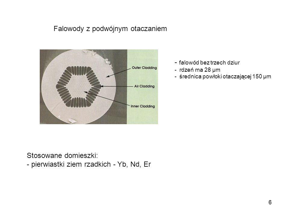 6 Falowody z podwójnym otaczaniem - falowód bez trzech dziur - rdzeń ma 28 µm - średnica powłoki otaczającej 150 µm Stosowane domieszki: - pierwiastki