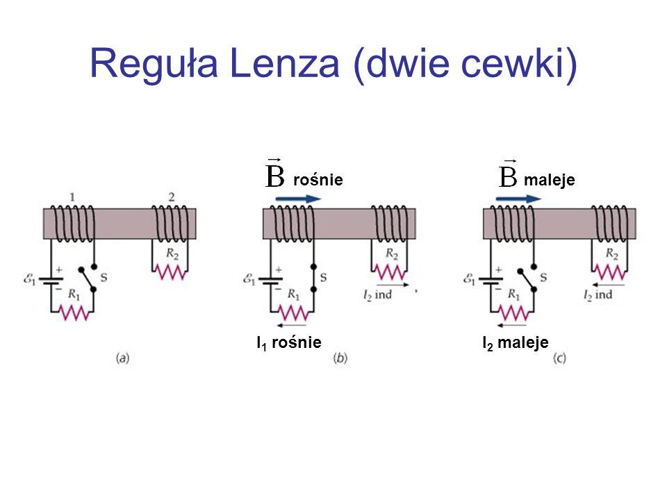 Reguła Lenza (dwie cewki) I 1 rośnieI 2 maleje rośniemaleje
