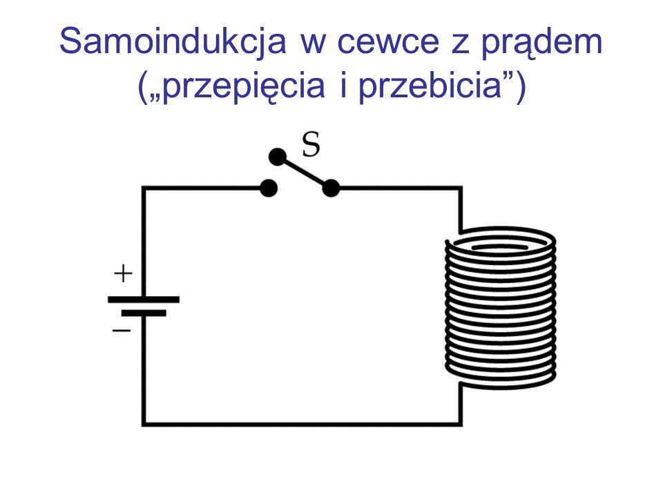 Samoindukcja w cewce z prądem (przepięcia i przebicia)