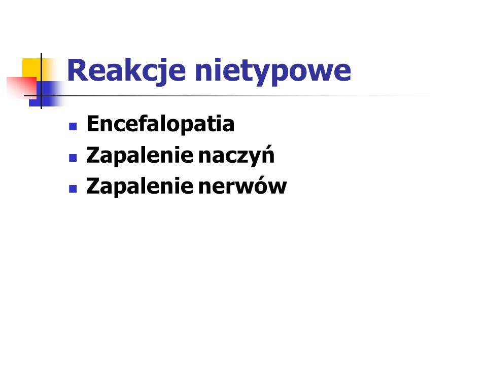 Reakcje nietypowe Encefalopatia Zapalenie naczyń Zapalenie nerwów