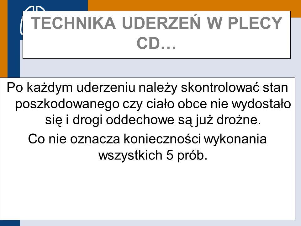 Europejska Rada Resuscytacji TECHNIKA UDERZEŃ W PLECY CD… Po każdym uderzeniu należy skontrolować stan poszkodowanego czy ciało obce nie wydostało się