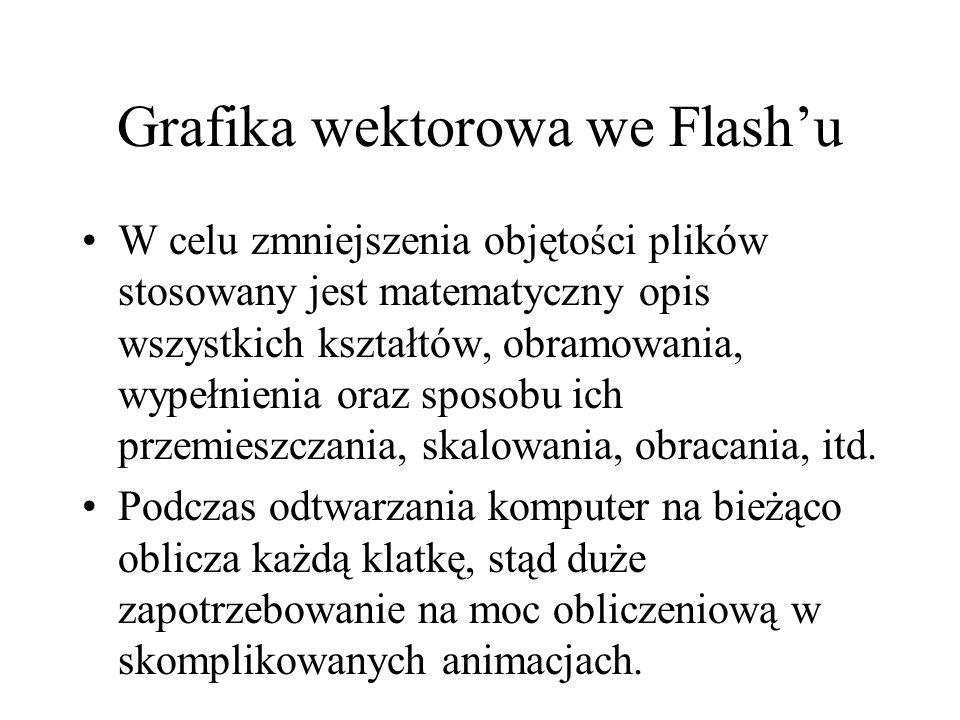 Grafika wektorowa we Flashu W celu zmniejszenia objętości plików stosowany jest matematyczny opis wszystkich kształtów, obramowania, wypełnienia oraz