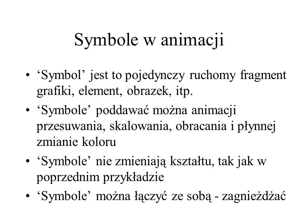 Symbole w animacji Symbol jest to pojedynczy ruchomy fragment grafiki, element, obrazek, itp. Symbole poddawać można animacji przesuwania, skalowania,