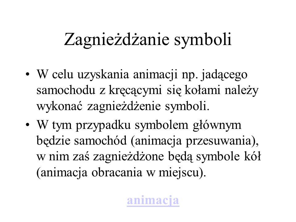 Zagnieżdżanie symboli W celu uzyskania animacji np. jadącego samochodu z kręcącymi się kołami należy wykonać zagnieżdżenie symboli. W tym przypadku sy