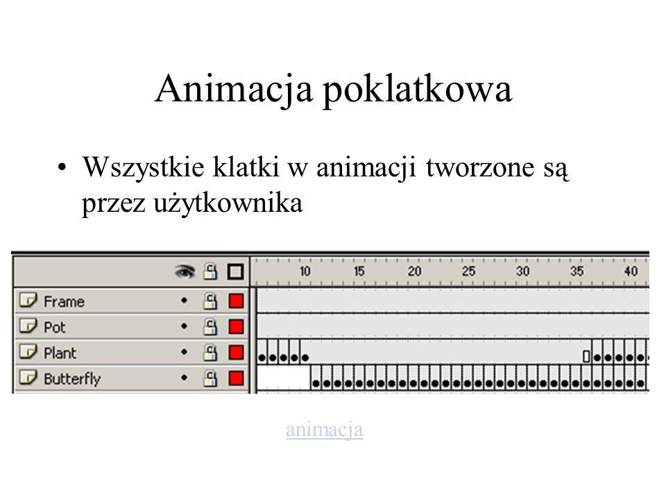Animacja z klatkami kluczowymi Użytkownik tworzy ważne klatki w animacji rozmieszcza je w czasie klatki pozostałe wyliczane są automatycznie przez komputer animacja