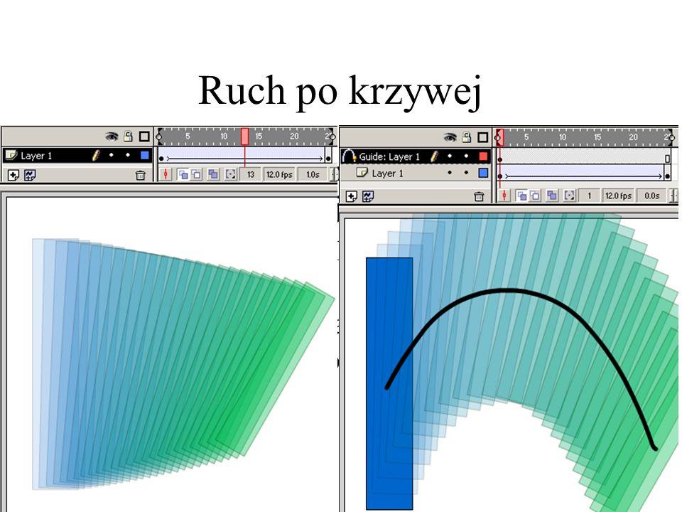 Ruch po krzywej W przypadku wcześniejszym środek obiektu przesuwany jest idealnie po linii prostej od położenia pierwszego do końcowego. Istnieje możl
