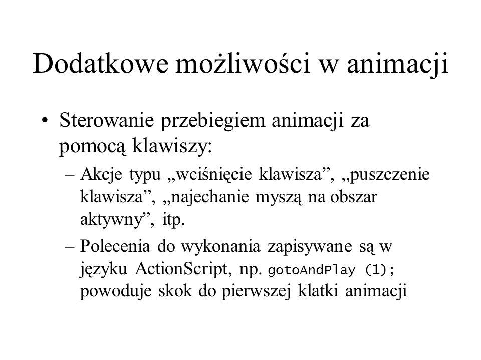 Dodatkowe możliwości w animacji Sterowanie przebiegiem animacji za pomocą klawiszy: –Akcje typu wciśnięcie klawisza, puszczenie klawisza, najechanie m