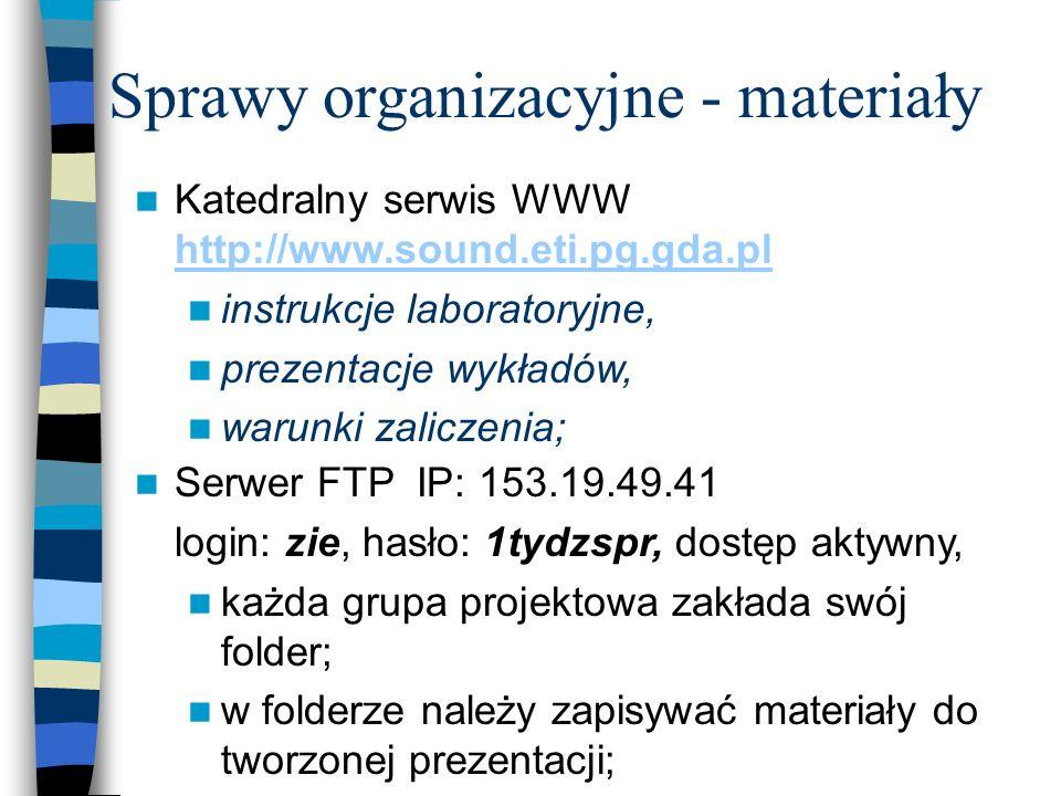 Sprawy organizacyjne - plan