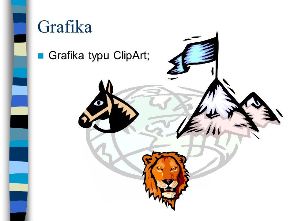 Grafika Obrazy grafiki rastrowej (formaty: BMP, JPEG, GIF itp.);