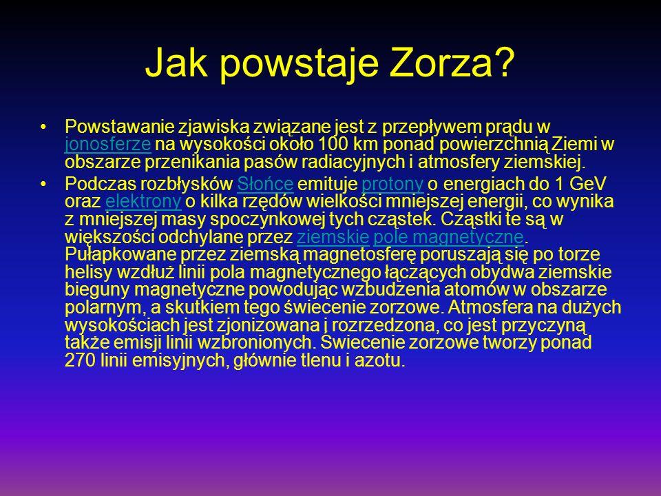 Jak powstaje Zorza? Powstawanie zjawiska związane jest z przepływem prądu w jonosferze na wysokości około 100 km ponad powierzchnią Ziemi w obszarze p
