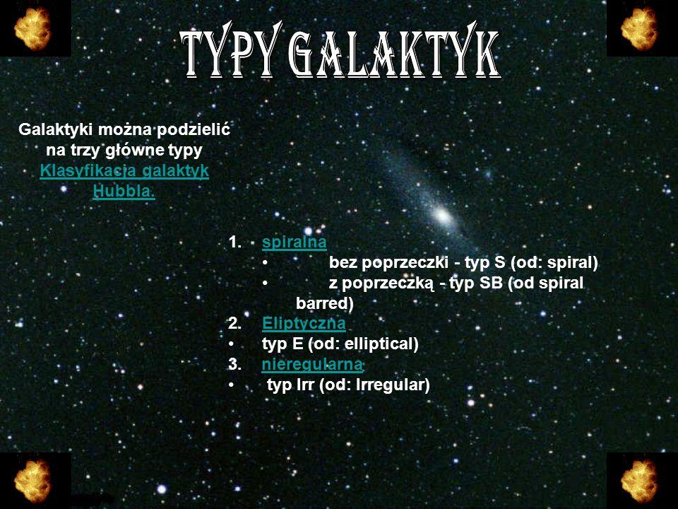 Galaktyki można podzielić na trzy główne typy Klasyfikacja galaktyk Hubbla. 1. 1.sspiralna bez poprzeczki - typ S (od: spiral) z poprzeczką - typ SB (