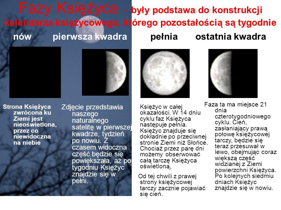 Fazy Księżyca – były podstawa do konstrukcji kalendarza księżycowego, którego pozostałością są tygodnie Księżyc w całej okazałości. W 14 dniu cyklu fa