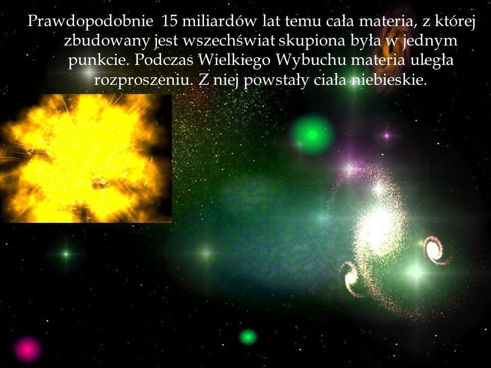 Prawdopodobnie 15 miliardów lat temu cała materia, z której zbudowany jest wszechświat skupiona była w jednym punkcie. Podczas Wielkiego Wybuchu mater