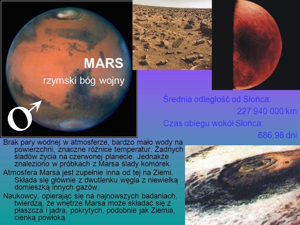 MARS Brak pary wodnej w atmosferze, bardzo mało wody na powierzchni, znaczne różnice temperatur. Żadnych śladów życia na czerwonej planecie. Jednakże
