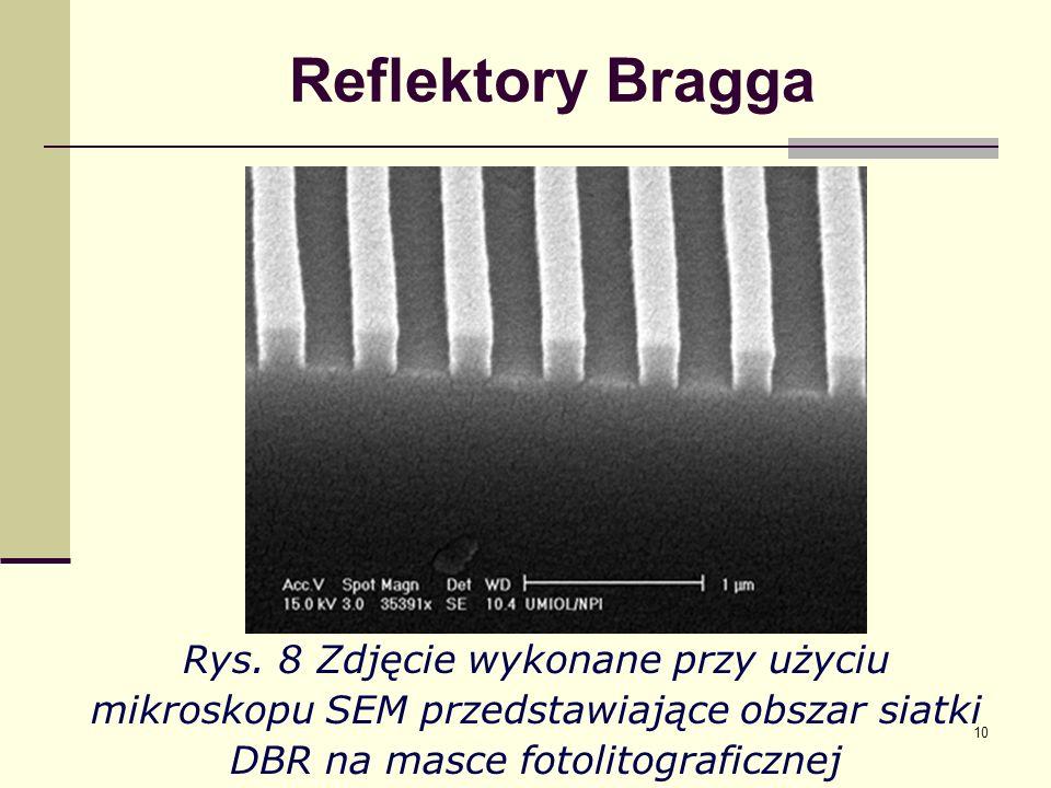 10 Reflektory Bragga Rys. 8 Zdjęcie wykonane przy użyciu mikroskopu SEM przedstawiające obszar siatki DBR na masce fotolitograficznej