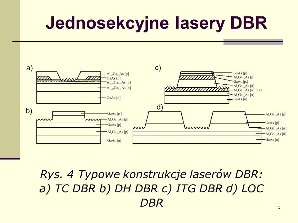 5 Jednosekcyjne lasery DBR Rys. 4 Typowe konstrukcje laserów DBR: a) TC DBR b) DH DBR c) ITG DBR d) LOC DBR