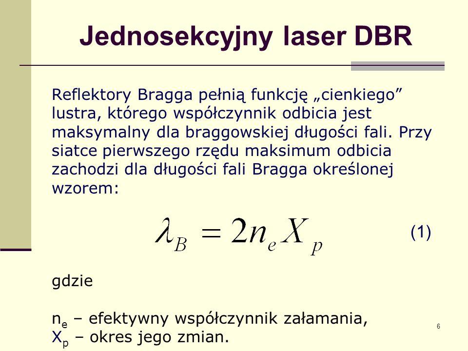6 Jednosekcyjny laser DBR Reflektory Bragga pełnią funkcję cienkiego lustra, którego współczynnik odbicia jest maksymalny dla braggowskiej długości fa
