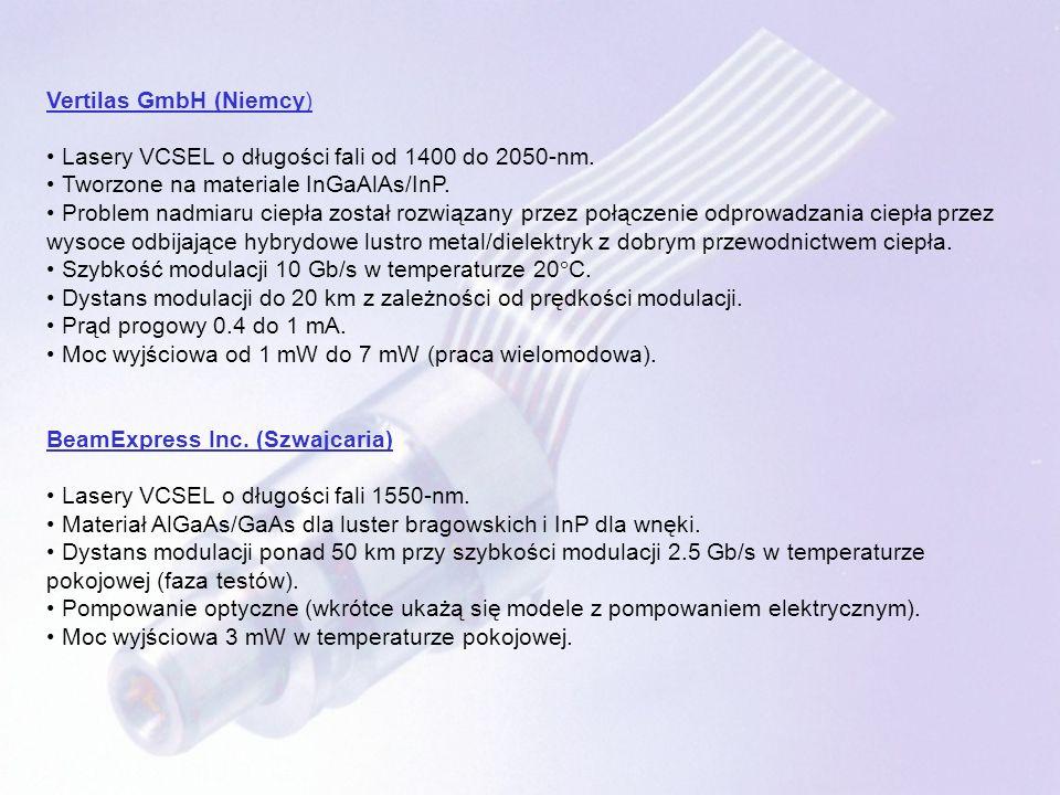 Vertilas GmbH (Niemcy) Lasery VCSEL o długości fali od 1400 do 2050-nm. Tworzone na materiale InGaAlAs/InP. Problem nadmiaru ciepła został rozwiązany