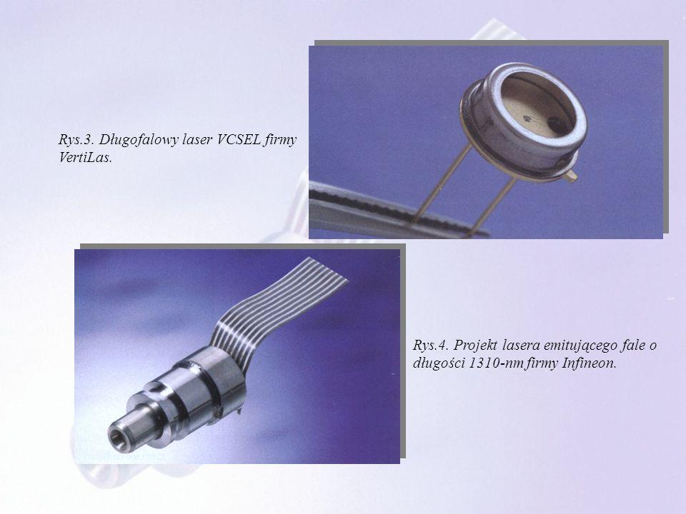 Rys.4. Projekt lasera emitującego fale o długości 1310-nm firmy Infineon. Rys.3. Długofalowy laser VCSEL firmy VertiLas.