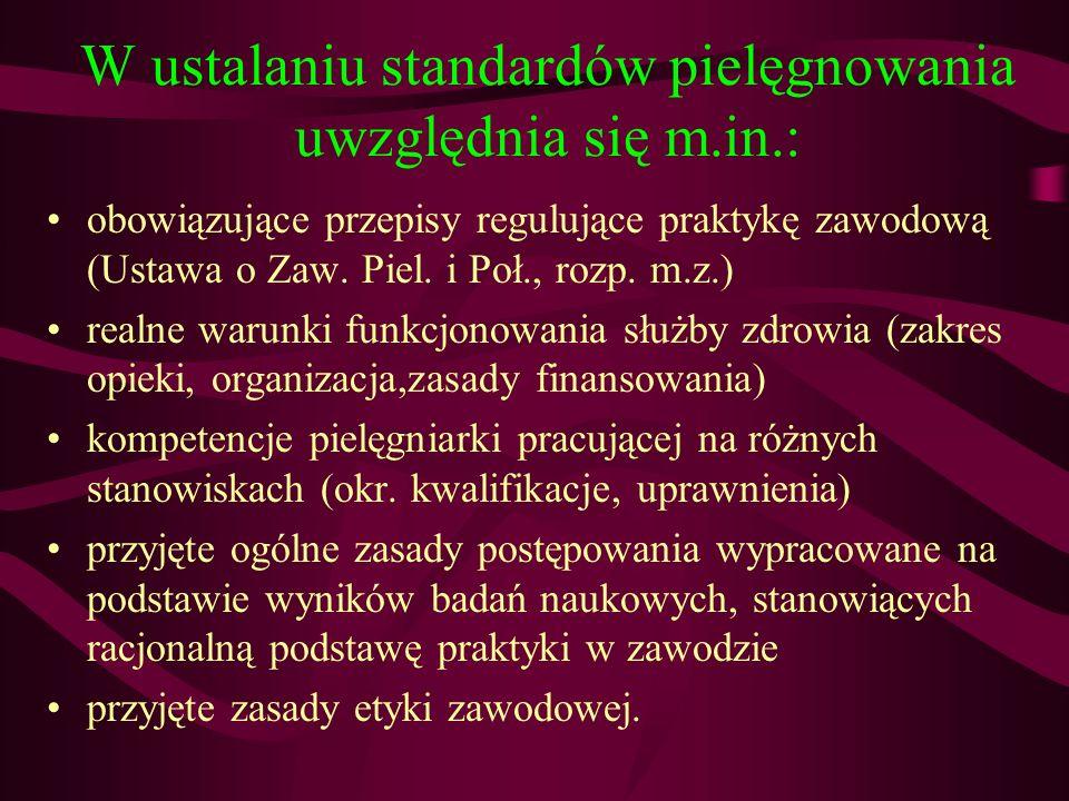 W ustalaniu standardów pielęgnowania uwzględnia się m.in.: obowiązujące przepisy regulujące praktykę zawodową (Ustawa o Zaw. Piel. i Poł., rozp. m.z.)