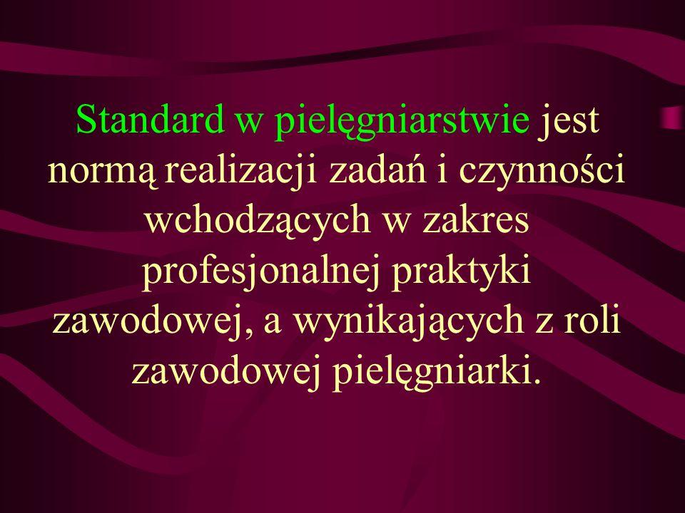 Standard w pielęgniarstwie jest normą realizacji zadań i czynności wchodzących w zakres profesjonalnej praktyki zawodowej, a wynikających z roli zawod