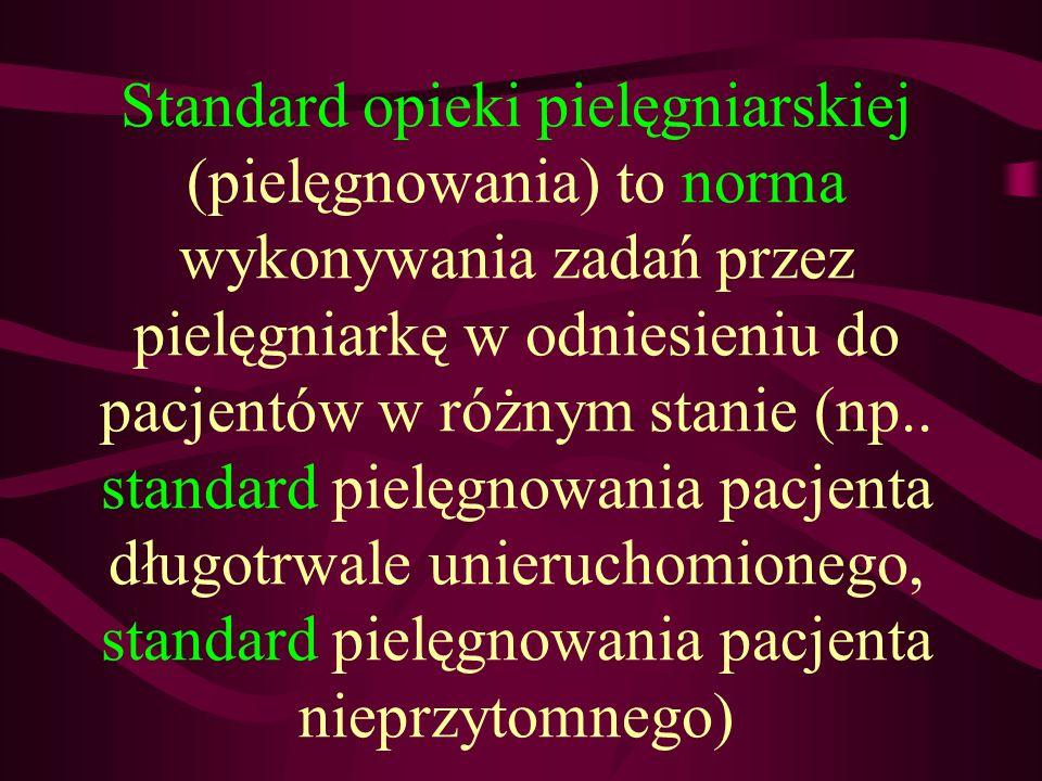 Standard opieki pielęgniarskiej (pielęgnowania) to norma wykonywania zadań przez pielęgniarkę w odniesieniu do pacjentów w różnym stanie (np.. standar