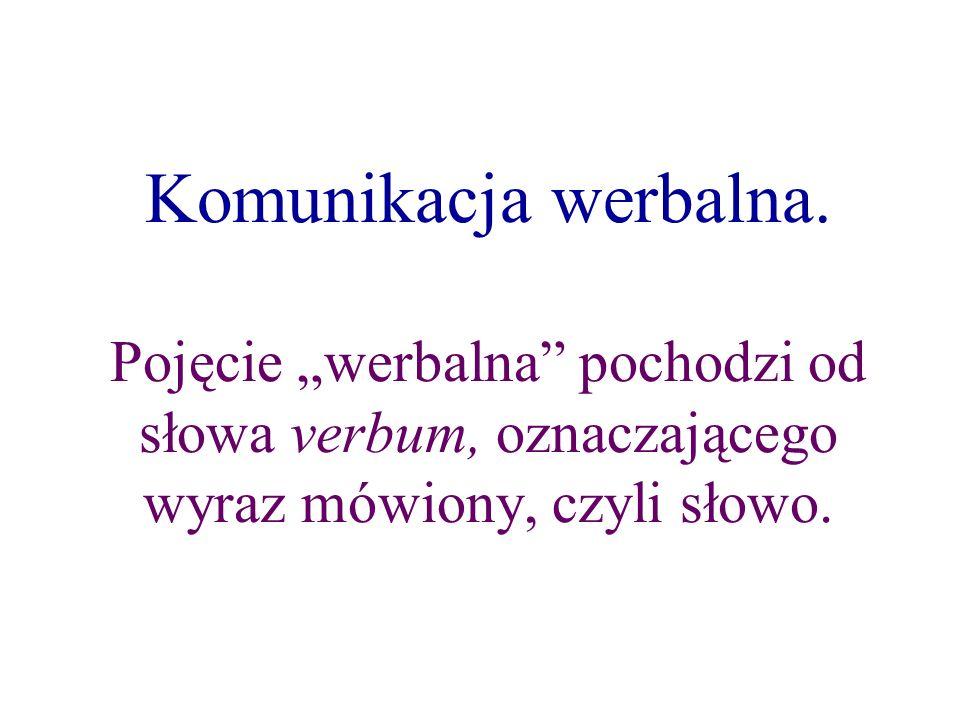 Komunikacja werbalna. Pojęcie werbalna pochodzi od słowa verbum, oznaczającego wyraz mówiony, czyli słowo.