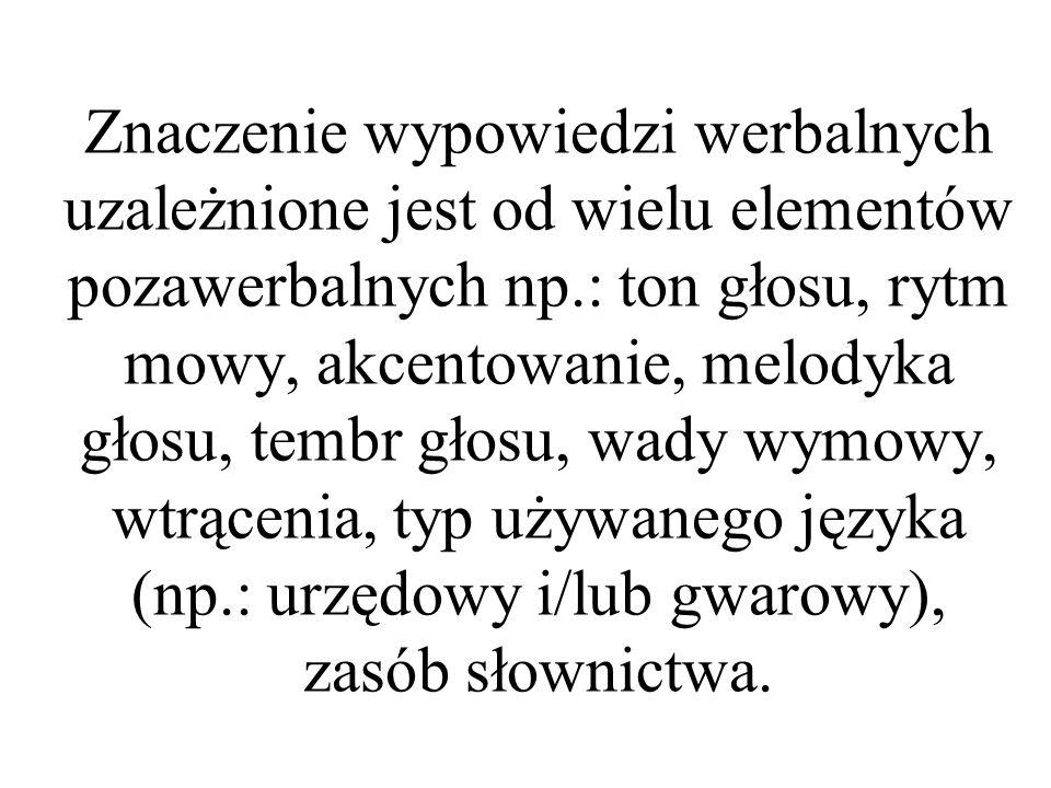 Znaczenie wypowiedzi werbalnych uzależnione jest od wielu elementów pozawerbalnych np.: ton głosu, rytm mowy, akcentowanie, melodyka głosu, tembr głos