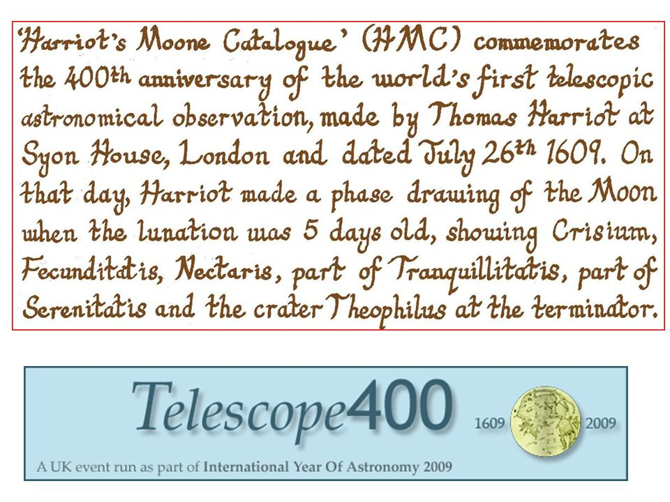 Interactive New Moone Catalogue in the style of Harriot (1609-1611)