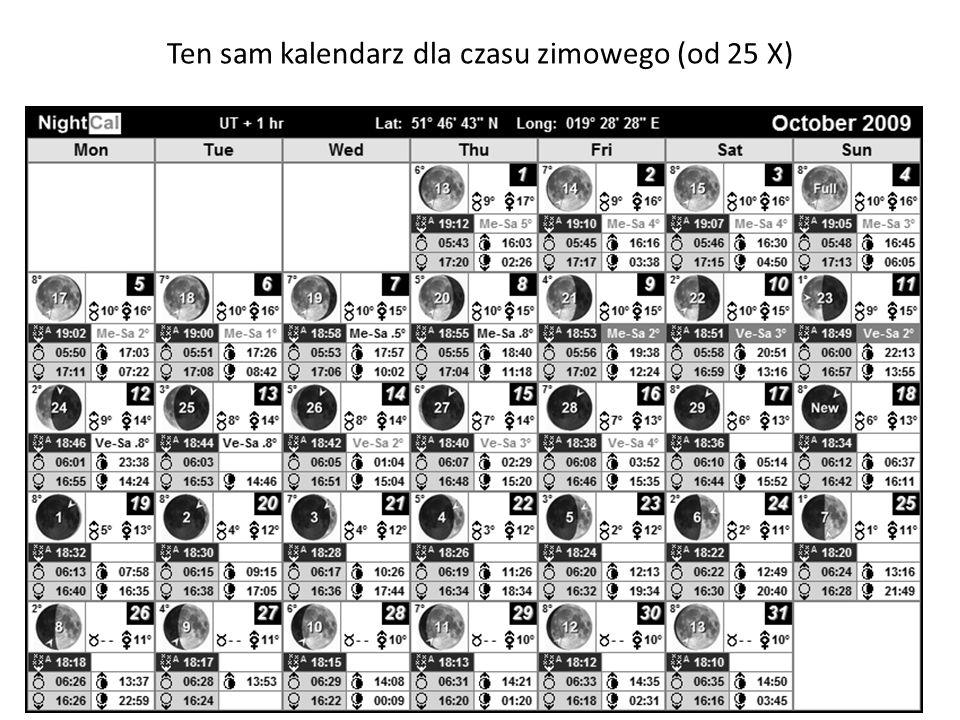 Ten sam kalendarz dla czasu zimowego (od 25 X)