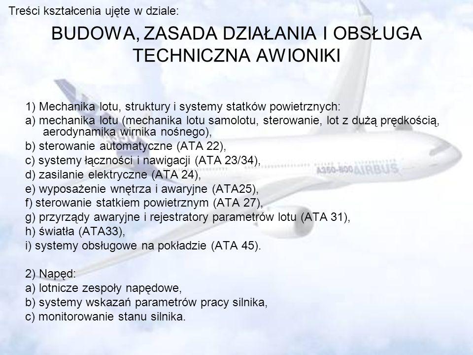 BUDOWA, ZASADA DZIAŁANIA I OBSŁUGA TECHNICZNA AWIONIKI 1) Mechanika lotu, struktury i systemy statków powietrznych: a) mechanika lotu (mechanika lotu