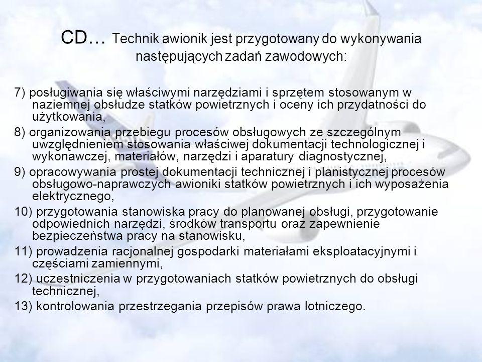 CD… Technik awionik jest przygotowany do wykonywania następujących zadań zawodowych: 7) posługiwania się właściwymi narzędziami i sprzętem stosowanym