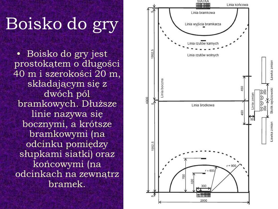 Boisko do gry Boisko do gry jest prostokątem o długości 40 m i szerokości 20 m, składającym się z dwóch pól bramkowych. Dłuższe linie nazywa się boczn