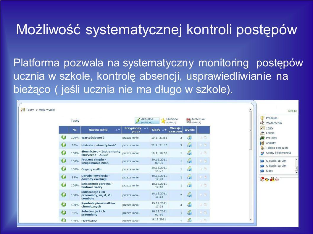 Platforma pozwala na systematyczny monitoring postępów ucznia w szkole, kontrolę absencji, usprawiedliwianie na bieżąco ( jeśli ucznia nie ma długo w