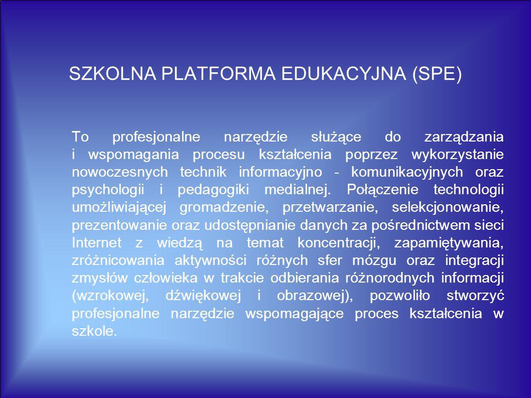 SZKOLNA PLATFORMA EDUKACYJNA (SPE) To profesjonalne narzędzie służące do zarządzania i wspomagania procesu kształcenia poprzez wykorzystanie nowoczesn