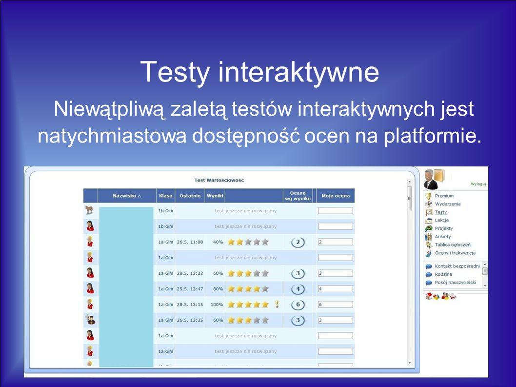 Testy interaktywne Niewątpliwą zaletą testów interaktywnych jest natychmiastowa dostępność ocen na platformie.