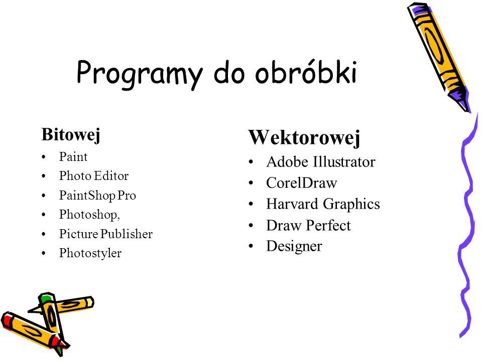 Programy do obróbki Bitowej Paint Photo Editor PaintShop Pro Photoshop, Picture Publisher Photostyler Wektorowej Adobe Illustrator CorelDraw Harvard G