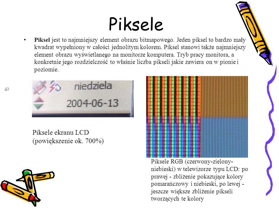 Piksele Piksel jest to najmniejszy element obrazu bitmapowego. Jeden piksel to bardzo mały kwadrat wypełniony w całości jednolitym kolorem. Piksel sta