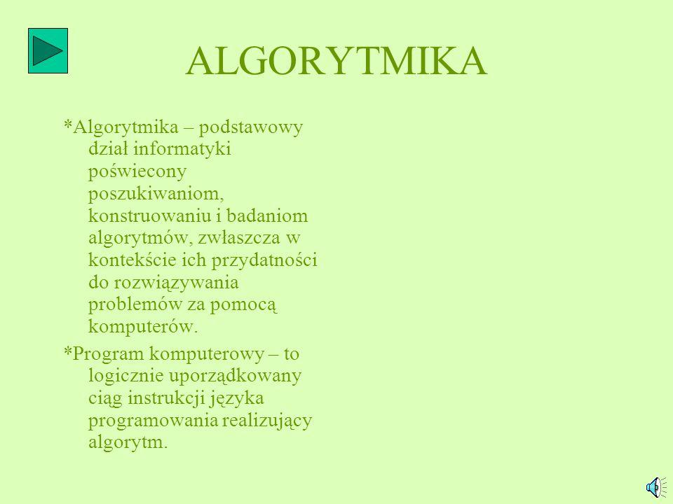 ALGORYTM WARUNKOWY: *Algorytm z warunkami charakteryzuje się realizacją kilku ciągów działań, występowaniem sytuacji warunkowych (jednej lub więcej).