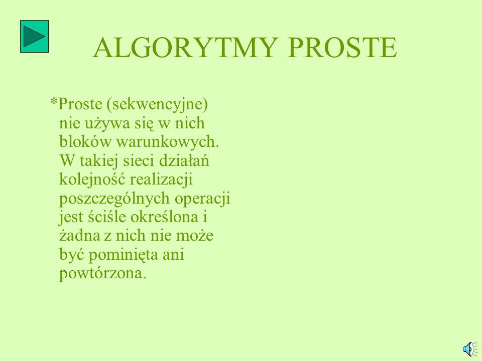 ALGORYTMY PROSTE *Proste (sekwencyjne) nie używa się w nich bloków warunkowych.