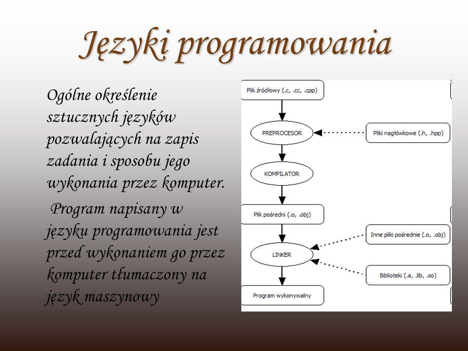 Języki programowania Ogólne określenie sztucznych języków pozwalających na zapis zadania i sposobu jego wykonania przez komputer. Program napisany w j